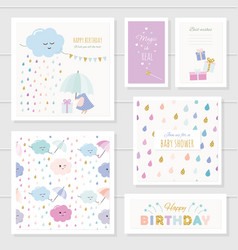 cute cards with gold glitter elements for girls vector image vector image