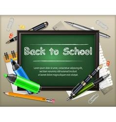 School blackboard and stationery vector image vector image
