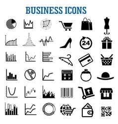 Business finance shopping and retail flat icons vector