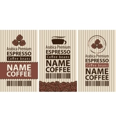 label coffee with coffee beans and cup vector image vector image