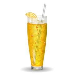orange vitamin juice in glass with straw vector image