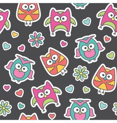 pattern of cartoon owls vector image