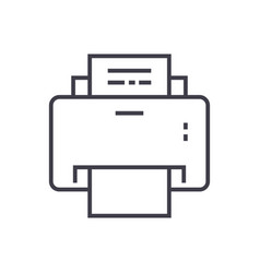 printer line icon sign on vector image