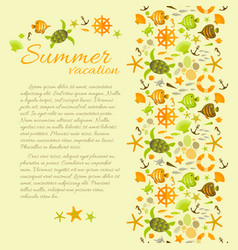 summer background with text framed by sea symbols vector image vector image