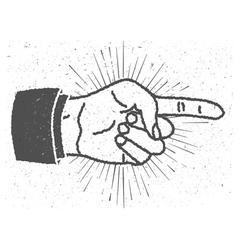 Vintage inspired hand with pointing finger sign vector image vector image