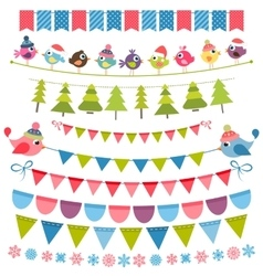 Christmas colorful flags and garlands set vector