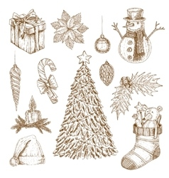 Christmas Hand Drawn Elements Set vector image vector image