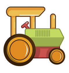 Colorful tractor toy icon cartoon style vector