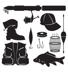 fisher equipment set vector image vector image