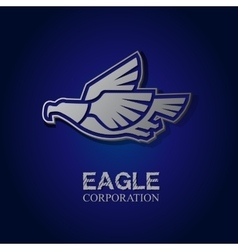graphic silver eagle symbol with text vector image vector image