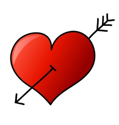 Hand drawn heart with arrow vector image vector image