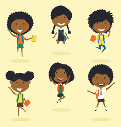 happy african american school girls jumping vector image vector image
