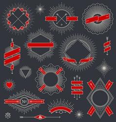 Set of line design emblem sign and hipster labels vector image vector image