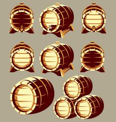 set of vintage wooden barrels in different vector image