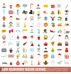100 nursery book icons set flat style vector
