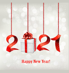 2021 new year background with gift box and red vector image