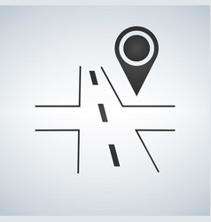3d road with map pin on white background vector