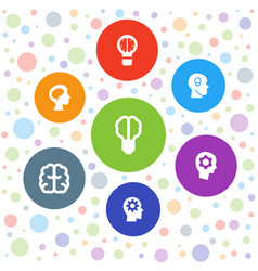 7 brain icons vector image