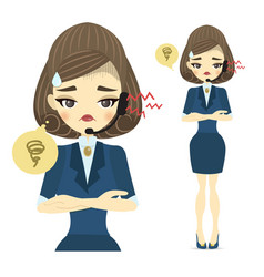 a young call center woman with an upset face vector image
