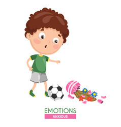 Anxious kid emotion vector