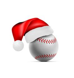 baseball ball with santa claus hat vector image