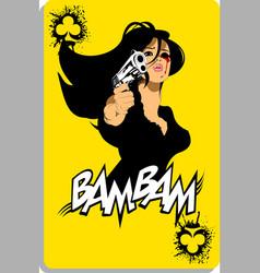 Black pistol on yellow vector