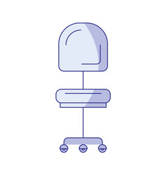 Blue shading silhouette of office chair front view vector