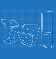 blueprint of set of interactive information kiosk vector image