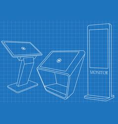 Blueprint set interactive information kiosk vector