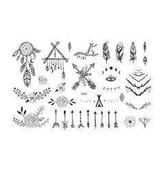 Boho mystic collection arrows decor elements vector