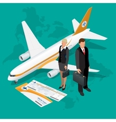 Business travel isometric composition travel and vector