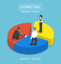 Businessman cut chart pie with saw and sharing vector