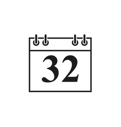 calendar of date 32 icon vector image
