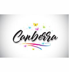 Canberra handwritten word text with butterflies vector