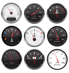 car dashboard gauges collection of speed fuel vector image
