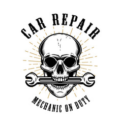 Car repair human skull with wrench in mouth vector