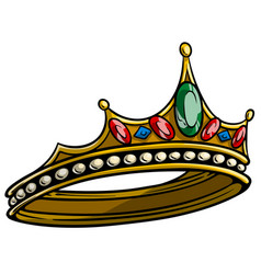 cartoon golden royal queen tiara vector image