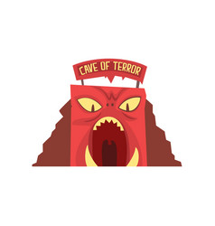 Cave terror in form red monster s face vector
