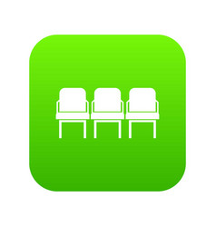 chairs in the departure hall icon digital green vector image