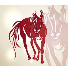 Chinese new year 2014 red walking horse vector