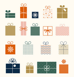 christmas set gifts in flat style isolated on vector image