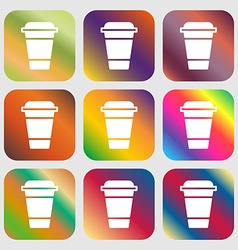 coffee icon sign Nine buttons with bright vector image