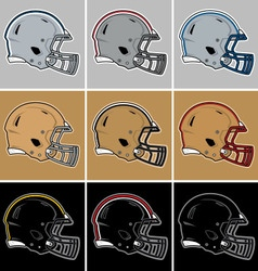 Colored football helmets in silver gold black vector