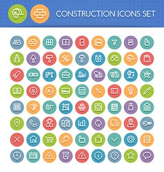 Construction line icons vector