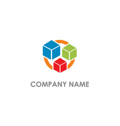 cube colored box company logo vector image