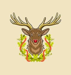 deer and christmas wreath vector image