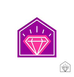 Diamond house logo thin line style jewelry shop vector