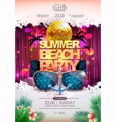Disco background ball summer beach party vector