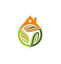Eco home logo design template vector