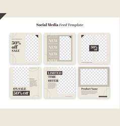 Elegant instagram social media feed post template vector